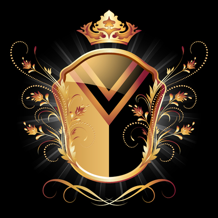 luxuriously: Medieval heraldic shield ornate golden ornament and crown