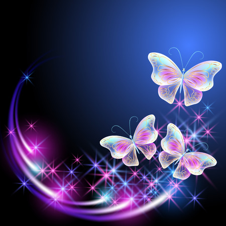 Butterflies with glowing firework and sparkle stars. Illusztráció