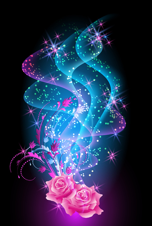 Roses ornament with glowing smoke and sparkle stars