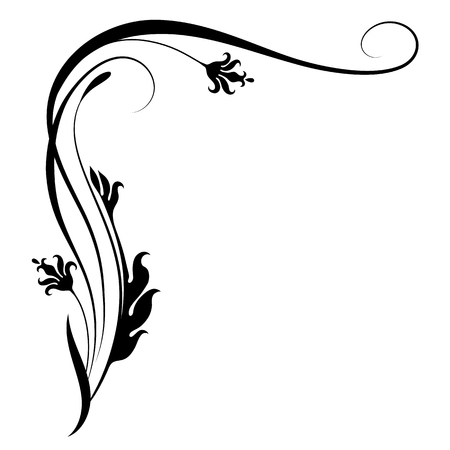 Decorative floral corner ornament for stencil isolated on white background