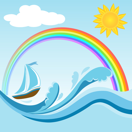 Sailboat on sea waves with rainbow and sun. Water sport and travel.