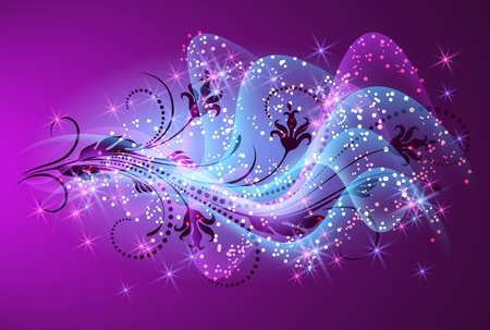 Floral ornament with glowing smoke and sparkle stars