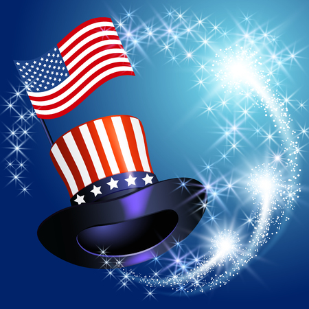 Design card or poster for American celebration Independence day 4 th july with cylinder hat, flag and firework