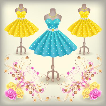 Modieuze jurk met polka dots in retro-stijl op dummy in de winkel of salon winkel met decoratieve versiering Stock Illustratie
