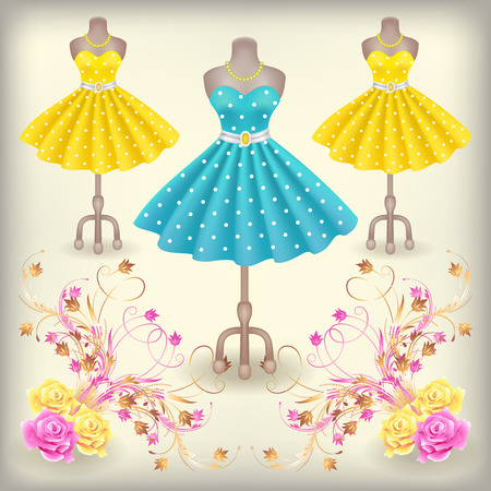 Fashionable dress with polka dots in retro style on dummy in shop or salon store with decorative ornament