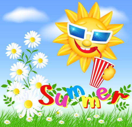 Funny sun drinking cool drink from straws and meadow flowers and green grass. Summer.