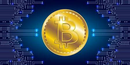 Moneda internacional. Símbolo virtual de la moneda bitcoin en el fondo del circuito electrónico. Cripto-moneda.
