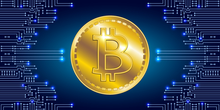 International currency. Virtual symbol of the coin bitcoin on electronic circuit background. Crypto-currency.