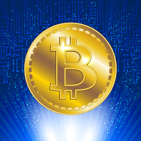 International currency. Virtual symbol of the coin bitcoin on electronic circuit background and glowing rays. Crypto-currency.