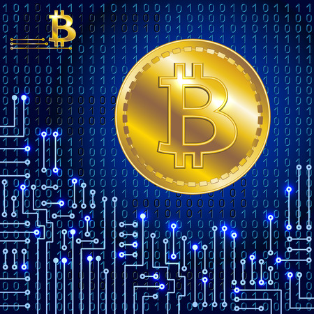 microprocessor: Virtual symbol of the coin bitcoin on binary code background and electronic circuit. Crypto-currency.