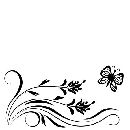 Ornement floral décoratif avec des fleurs et papillon pour pochoir isolé sur fond blanc Banque d'images - 82895076