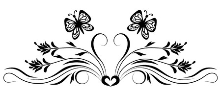 Decorative flora ornament with flowers and butterfly for stencil isolated on white background