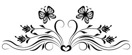 Ornement de flore décorative avec des fleurs et des papillons pour pochoir isolé sur fond blanc Banque d'images - 82895075