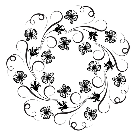 Decorative floral round ornament with flowers and butterfly for stencil isolated on white background