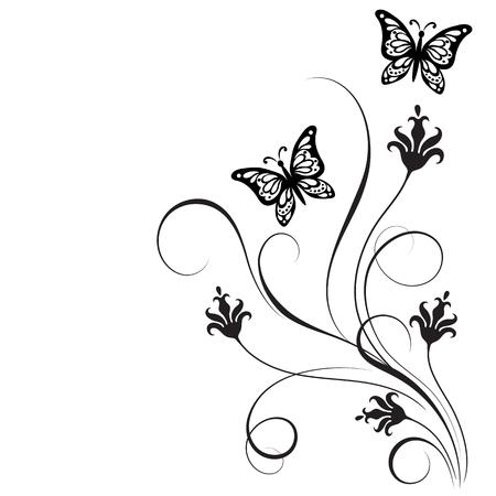 Decoratief floral corner ornament met bloemen en vlinder voor stencil geïsoleerd op een witte achtergrond Vector Illustratie