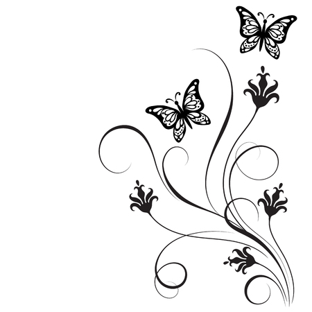 Decorative floral corner ornament with flowers and butterfly for stencil isolated on white background Imagens - 83144382