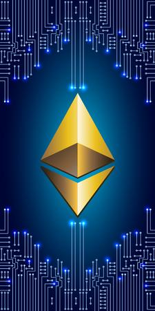 Símbolo virtual moneda ethereum en el fondo del circuito electrónico. Crypto Currency.