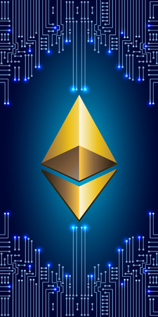 Virtual symbol coin ethereum on electronic circuit background. Crypto currency. Illustration