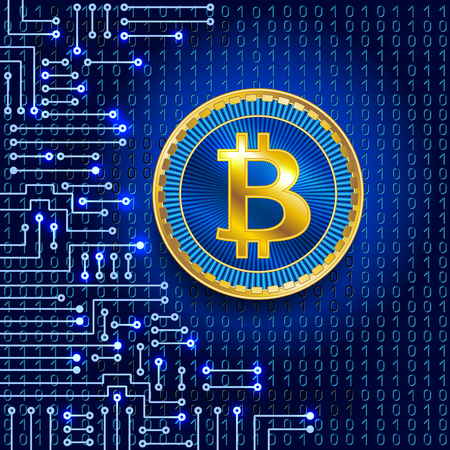 Virtual symbol of the coin bitcoin on binary code background and electronic circuit. Crypto-currency.