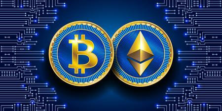 Símbolos virtuales de la moneda bitcoin y ethereum. Crypto Currency.