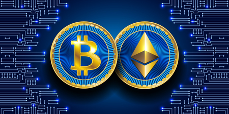 Virtual symbols of the coin bitcoin and ethereum. Crypto currency.