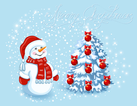 Christmas card with funny Snowman in Santa cap against snowfall background and christmas tree. Element for the New Year design.