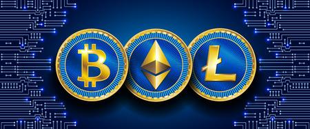 Símbolos virtuales de la moneda bitcoin, litecoin y ethereum en el patrón de circuito electrónico. Moneda criptográfica.