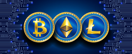 Virtual symbols of the coin bitcoin, litecoin and ethereum on electronic circuit pattern. Crypto currency.