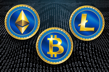Virtual symbols of the coin bitcoin, litecoin and ethereum on binary code background. Crypto currency.