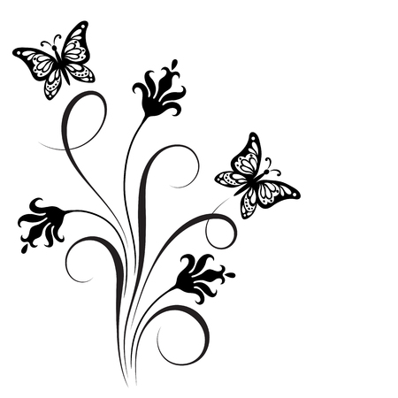 Decorative floral corner ornament with flowers and butterfly for stencil.