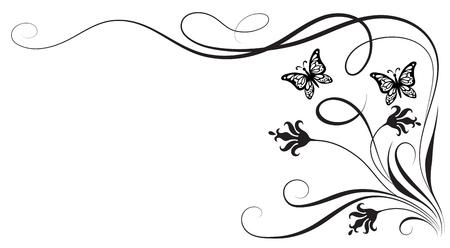 ornamento floral decorativo floral con flores y mariposas para plantilla aislada sobre fondo blanco