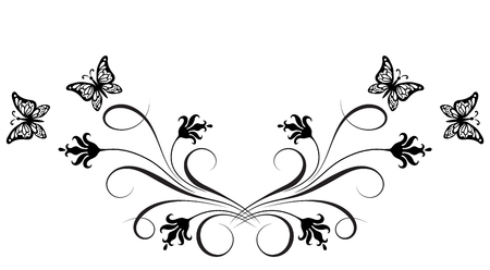 Decorative floral ornament with flowers and butterfly for stencil isolated on white background Vettoriali