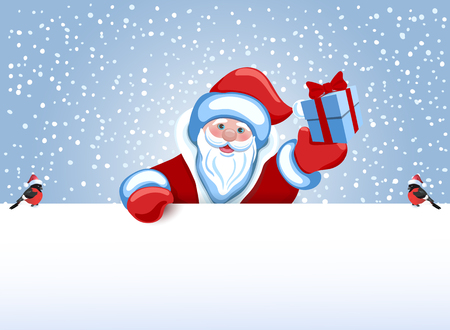 grandfather frost: Santa Claus holds poster in the form of a snowdrift for advertise discounts, sales or an invitation to celebrate Christmas. Design of the New Year presentation.