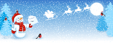 Christmas card with funny Snowman in Santa cap with Christmas letter for Santa Claus against winter forest background, bullfinches and Santa Claus in sleigh with reindeer team flying in the sky. New Year design postcard. Illustration
