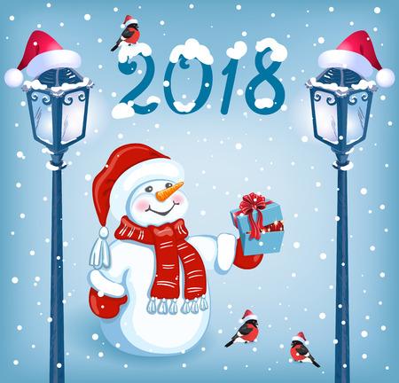 Christmas card with funny Snowman in Santa cap with gift box against snowfall background  and retro lampposts. New Year design postcard.