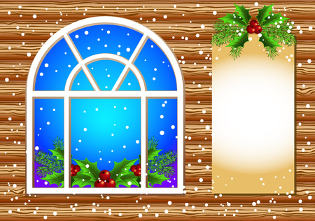 Christmas window with decorated paper for text