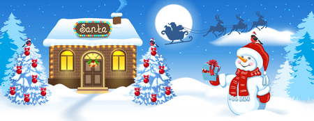 Christmas card with Snowman, brick house and Santa's workshop against winter forest background and Santa Claus in sleigh with reindeer team flying in the moon sky. New Year design postcard.