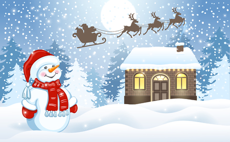 Christmas card with funny Snowman and Santas workshop against winter forest background and Santa Claus in sleigh with reindeer team flying in the moon sky. New Year design postcard.