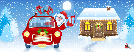 Christmas card with Santa Claus in red car and brick house and Santas workshop against winter forest background. New Year design postcard.