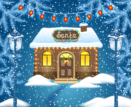 Christmas card with brick house and Santas workshop against winter forest background  and vintage streetlamps. New Year design postcard.