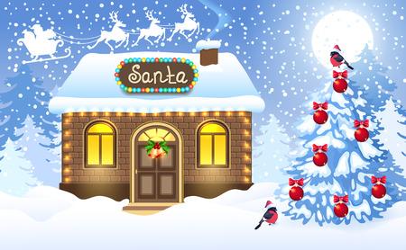 レンガ造りの家と冬の森の背景に対するサンタのワークショップと月の空に飛ぶトナカイチームとそりでサンタクロースとクリスマスカード。新年