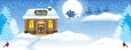 Christmas card with brick house and Santa's workshop against winter forest background and Santa Claus in sleigh with reindeer team flying in the moon sky. New Year design postcard. Stock Illustratie