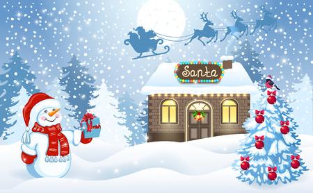 面白い雪だるま冬の森の背景とサンタ クロースのギフト ボックスとサンタさんのワーク ショップを月空を飛ぶトナカイ チームとそりで開催のクリ  イラスト・ベクター素材