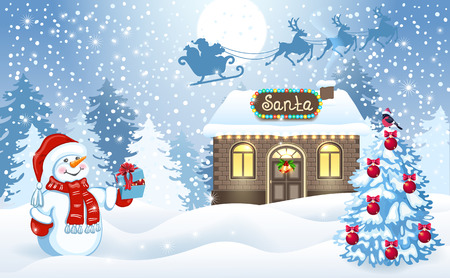Christmas card with funny Snowman holding gift box and Santas workshop against winter forest background and Santa Claus in sleigh with reindeer team flying in the moon sky. New Year design postcard.