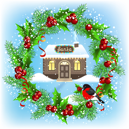 Christmas card with wreath, brick house and Santas workshop. New Year design postcard.