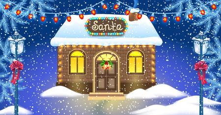れんが造りの家と冬の森の背景とヴィンテージ街灯に対するサンタさんのワーク ショップのクリスマス カード。新年デザインはがき。  イラスト・ベクター素材