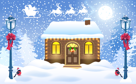 Christmas card with brick house and Santa's workshop.