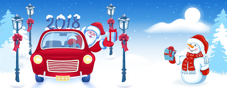 Christmas card with Santa Claus in red car with gift box and Snowman against winter forest background. New Year design postcard or web banner.