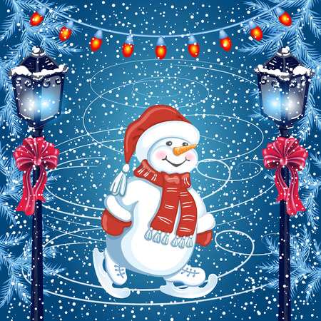 Funny Snowman skating on rink in Santa Claus hat and vintage streetlamp with red bow.