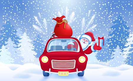 Christmas card with Santa Claus in red car with gift box and big bag against firework and salute background. New Year postcard. Vettoriali